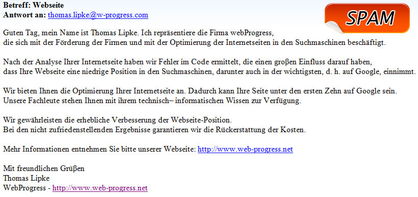 WebProgress Spam / Spammer