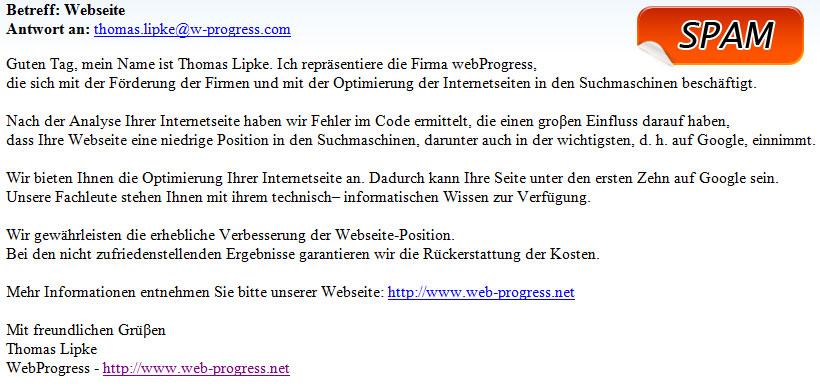 WebProgress Spam / Spammer