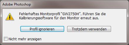 Fehlermeldung bei Adobe Photoshop
