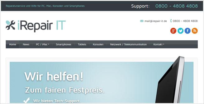 Webdesign für die iRepair IT GmbH.