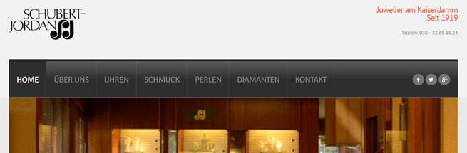 Webdesign für Juwelier Schubert-Jordan