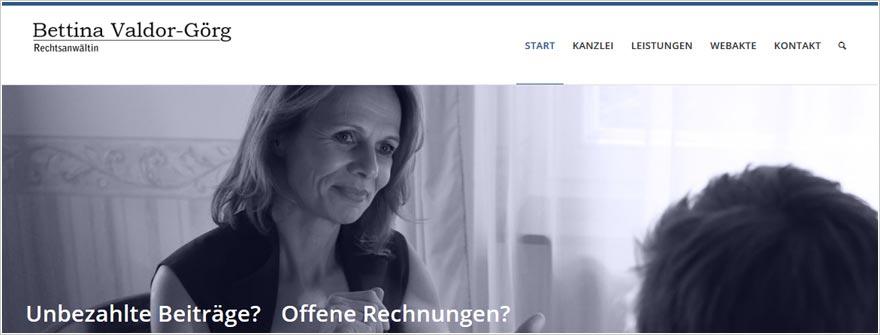 Rechtsanwältin Bettina Valdor-Görg - Webdesign